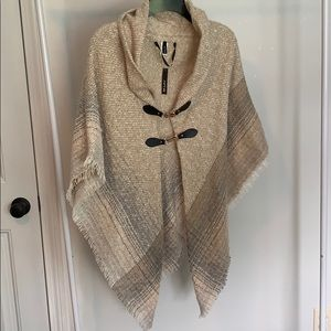 Tan and gray sweater poncho